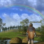 Checking out a rainbow after a rain storm in LOTRO